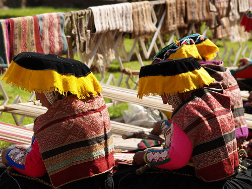 Women weaving all day at the market in San Blas, Cusco