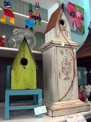 Green and Beige Birdhouses of Distinction
