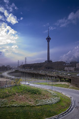 Milad Tower / Tehran (Hamed Saber) Tags: bridge blue sky tower highway iran tehran dri hdr milad   multiexposure   telecommuncation