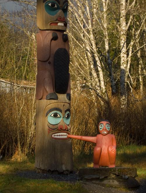 clam boy totem, Saxman, Alaska