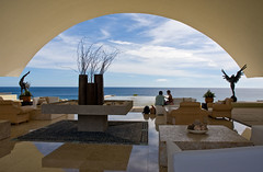 Sea of Cortez and Hotel Marquis Lobby, Los Cabos, Mexico (jackie weisberg) Tags: travel vacation sky cloud tourism horizontal architecture clouds mexico hotel design skies tour lifestyle bluesky lobby mexican tropical tropic leisure baja blueskies hotels traveling interiordesign tropics touring centralamerica seaofcortez tropicofcancer loscabos vacationing lobbies bajapeninsula 10613 jackieweisberg