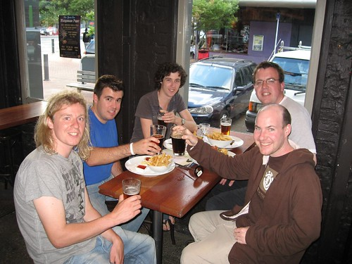 Justin (blue shirt) and friends in Wellington, New Zealand