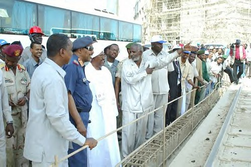 President Omar al-Bashir at the Merowe Dam in Sudan. This project will provide the largest source of electrical generation on the African continent. by Pan-African News Wire File Photos