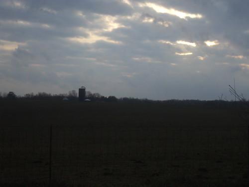 Silo, silhouette, sky