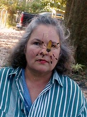 Julie with pet spider (banana spider) (juliealicea1947) Tags: spider louisiana bananaspider redsticklive