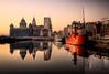 The Three Graces (BarneyF) Tags: sunset color reflection liverpool boat threegraces pierhead albertdock merseyside capitalofculture liverpool08