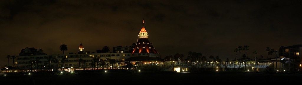 Hotel Del Coronado at night - panorama