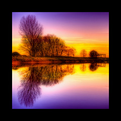 Double (Dimitri Depaepe) Tags: bridge trees winter sunset orange reflection tree water bravo purple belgium belgique belgie quality newport hdr orton nieuwpoort firstquality bratanesque lesamisdupetitprince