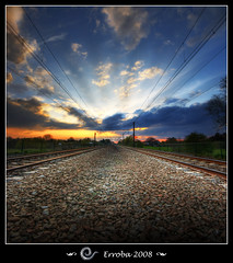Time (Erroba) Tags: blue sunset red sky orange green clouds train photoshop canon belgium time tripod perspective tracks sigma racing pinkfloyd tips 1020mm erlend soe hdr mechelen blueribbonwinner 3xp photomatix tonemapped tonemapping 400d abigfave superbmasterpiece infinestyle diamondclassphotographer flickrdiamond theunforgettablepictures goldstaraward erroba robaye erlendrobaye alarecherchedutempperdu
