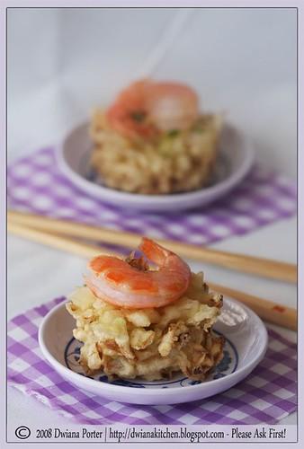 shrimp and fried vegetables