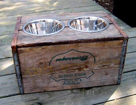 elevated dog feeder made from a wooden crate