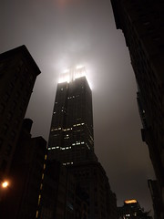 Lighting up the skies (Joff Hopkins) Tags: newyorkcity usa cloud mist newyork america altitude unitedstatesofamerica creepy nighttime empirestatebuilding empirestate litup nyc2008