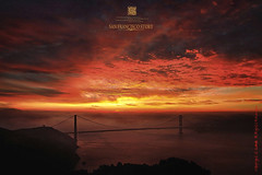 golden gate bridge in rare moody fiery cloud & jazzy fog sunrise.   location~san francisco, california (louie imaging) Tags: world sanfrancisco california ca city morning bridge red sky usa sun tree colors beautiful fog modern clouds sunrise wonder landscape joseph lost dawn golden bay cool gate san francisco fuji view dynamic bridges grand exotic area headlands seventh engineer fiery strauss rarity flickrsbest 8x20 november242006 aplusphoto gnneniyisi