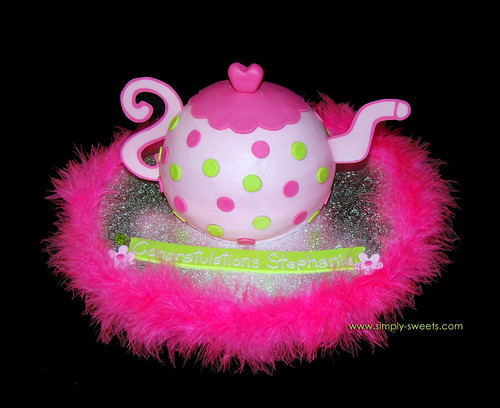 Pink and green polka dot teapot cake