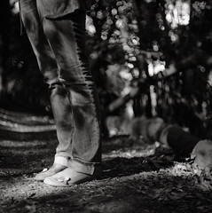Fields of Gold (NyYankee) Tags: bw rome flower film feet mediumformat shoes ground cecilia p6 villapamphili pentaconsixtl carlzeissjenabiometar80mmf28