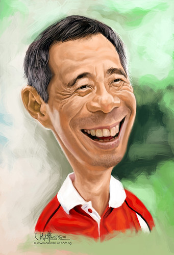 Digital caricature of Singapore Prime Minister Lee Hsien Loong