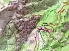 Carte des environs du col de Bavella avec Punta Bigornu et l'école d'escalade
