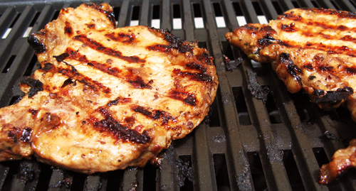 Hoisin Grilled Pork Chops on the grill