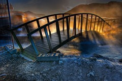 The Perilous Bridge ... (asmundur) Tags: bridge light photoshop golden iceland glowing hdr bluelagoon gufa grindavk blalni 3xp photomatix svartsengi br virkjun orbjrn blackmeadows