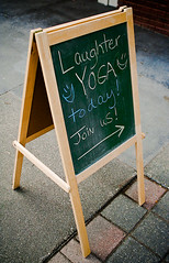 Side Splitting (TerryJohnston) Tags: sign yoga marketing chalk letters advertisement laughter chalkboard advertise directional laughteryoga tentsign
