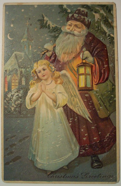 Vintage Christmas Postcard      Santa and Angel