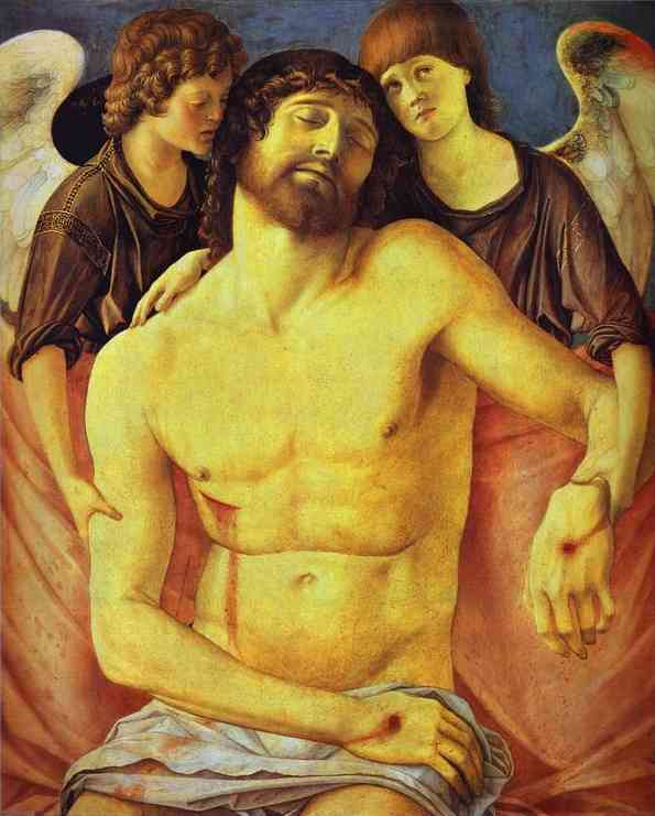 BELLINI, Giovanni Dead Christ Supported by Two Angels, c1480-85