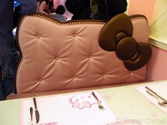 Hello Kitty Cafe Taipei Taiwan Padded seat (Chamelle Photo) Tags: pink food cute cakes public cake cat japanese this restaurant see design cafe all with photos sweet hellokitty interior treats cartoon taiwan icon tagged desserts chandelier birthdaycake bakery kawaii pastry sweets theme click taipei   pastries decor  fuxing zhongxiao daanroad hellokittysweets