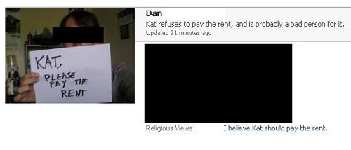 Kat refuses to pay the rent, and is probably a bad person for it.