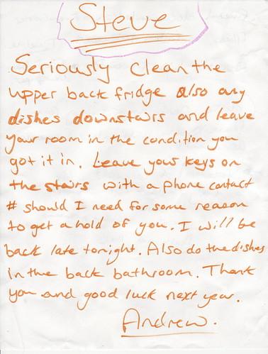Steve: Seriously clean the upper back fridge