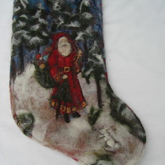new felted Christmas stocking (haddy2dogs) Tags: christmas kids felted natural needle stocking