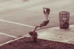 * (Paul Octavious) Tags: hydrant kid jump chicagoist