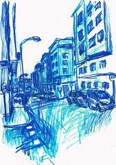 CALLE VIRGEN DE LA PROVIDENCIA (GARGABLE) Tags: virgendelaprovidencia madrid barriodelaconcepción angelbeltrán apuntes dibujos drawings sketch coches voitures gargable