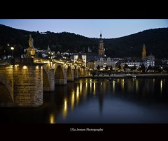 Heidelberg (Ulla Jensen Photography) Tags: longexposure bridge sunset church reflections river germany dusk heidelberg neckar nikond7000 wwwullajensencom