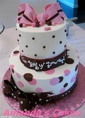 Baby Dowers Baby Shower Cake (mandotts) Tags: pink baby brown cake shower polkadots babygirl bow babyshower babycake pinkandchocolatecake