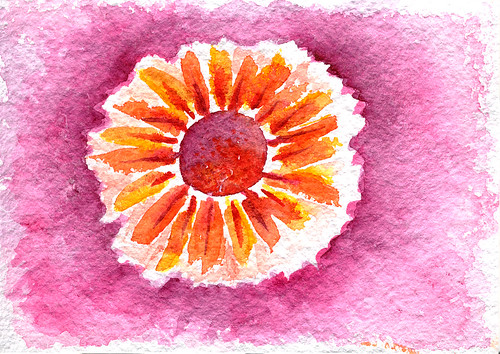 111407 Watercolor Flower Sun Eye Mandala to lift my spirits