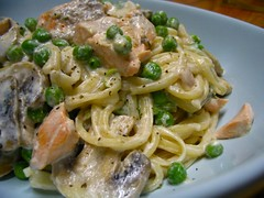 Salmon and mushroom linguine in cream sauce