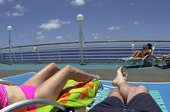 Cruising the Caribbean 7481 (FamilyMan5k) Tags: ocean cruise pink blue vacation sky chair lounge relaxing bikini caribbean shorts royalcaribbean enchantmentoftheseas