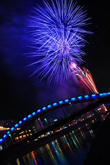 Blue Water -  (amirjina) Tags: longexposure blue flower reflection japan night river fire arch fireworks amir vis shizuoka kano hanabi jina  numazu   kanogawa  spselection aplusphoto ultimateshot amirjina  gettysub2