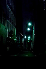 greenish night street