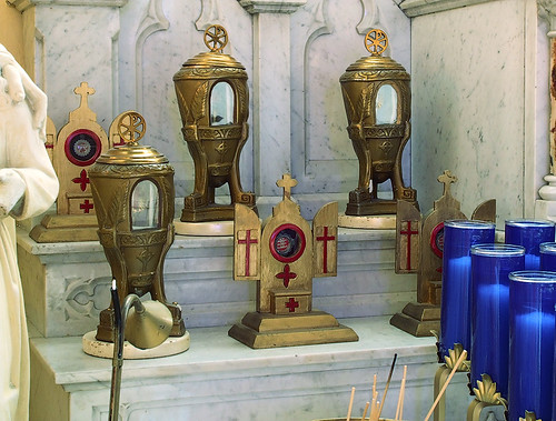 Sainte Genevieve Roman Catholic Church, in Sainte Genevieve, Missouri, USA - reliquaries