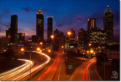 Atlanta Skyline at Dusk (Phijomo) Tags: city longexposure atlanta sunset urban skyline georgia nikon cityscape dusk atl highways lighttrails d80 nikond80 platinumphoto anawesomeshot diamondclassphotographer flickrdiamond goldstaraward