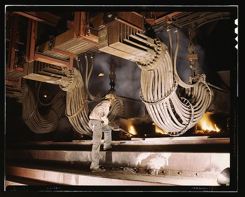 Large electric phosphate smelting furnace used in the making of elemental phosphorus in a TVA chemical plant in the Muscle Shoals area, Alabama (LOC)