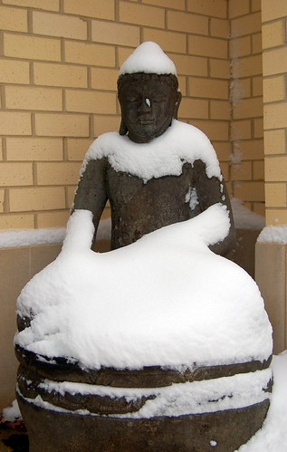 Buddha has a snow day