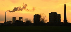 the remains of the day (cumbo) Tags: park chimney tower glasgow smoke flats highrise nightfall gorbals glasgowgreen newgorbals mywinners