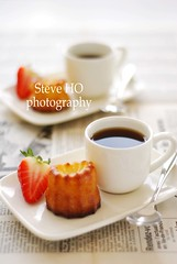 Caf gourmand (*steveH) Tags: food coffee caf newspaper strawberry drink sweet pastry canel steveh cannel