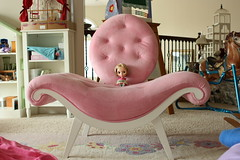 Miracle in BIG PINK COOL Chair in Playroom (The Dolly Mama) Tags: pink chair doll florida miracle blythe playroom interesting7