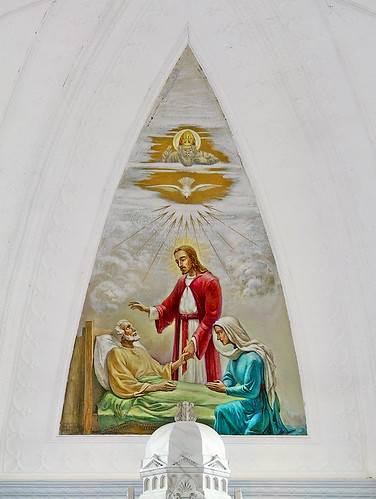 Saint Joseph Roman Catholic Church, in Bonne Terre, Missouri, USA - painting of the holy death of Joseph