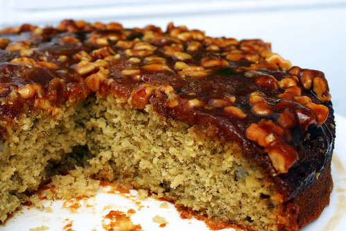 caramel walnut upside down banana cake | smitten kitchen