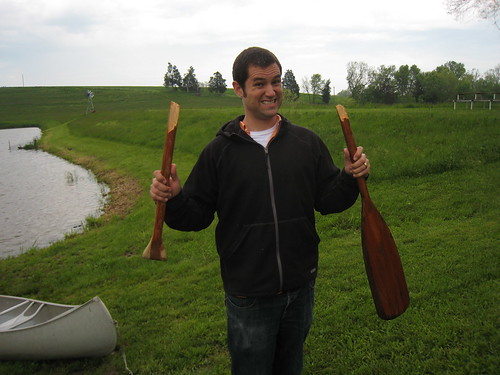 Ted and Martha's 50th wedding anniversary party at the farm - Oops, I broke the paddle...