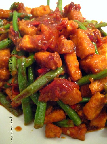 Deep Fried Beancurd and Green Beans in a Sweet and Spicy Sauce